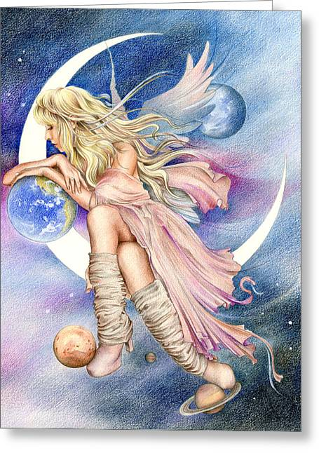 Artwork Mixed Media Greeting Cards - Planets of the Universe Greeting Card by Johanna Pieterman