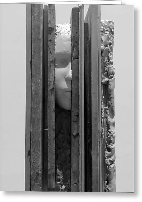 Great Sculptures Greeting Cards - PLANK FACE VERTICAL B W  a k a HERES JOHNNY Greeting Card by Rob Hans
