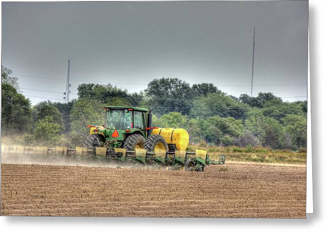 Museum Quality Greeting Cards - Planting the Cotton Greeting Card by Barry Jones