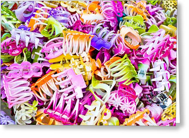 Hair Accessory Greeting Cards - Plastic hairclips Greeting Card by Tom Gowanlock