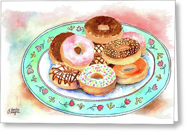 Donuts Paintings Greeting Cards - Plate Of Donuts Greeting Card by Arline Wagner