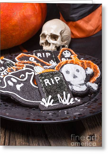 Plate Of Halloween Sugar Cookies Greeting Card by Edward Fielding