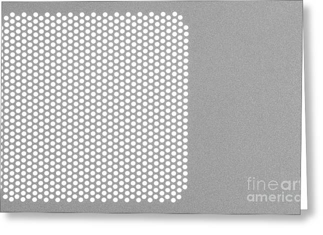 Metal Sheet Greeting Cards - Plate with holes punched in Greeting Card by Wolfgang Steiner