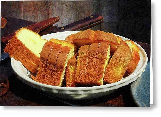 Plate With Sliced Bread And Knives Greeting Card by Susan Savad