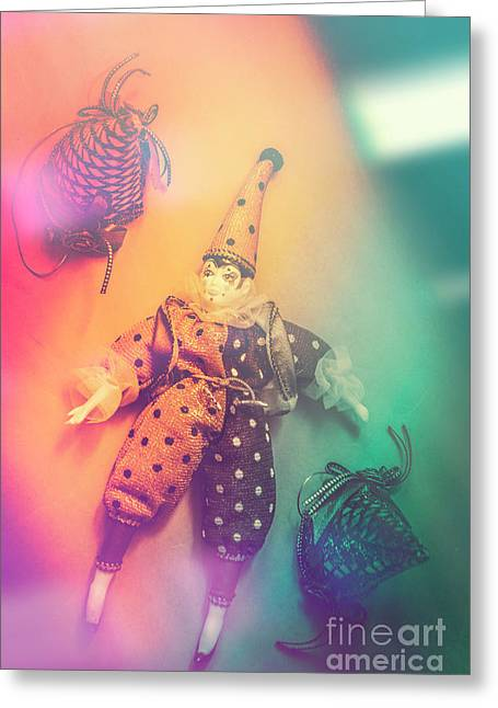 Play Act Of A Puppet Clown Performing A Sad Mime Greeting Card by Jorgo Photography - Wall Art Gallery