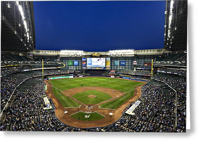 Miller Park Greeting Cards - Play Ball Greeting Card by CJ Schmit