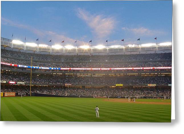 Yankee Stadium Bleachers Greeting Cards - Play Ball Greeting Card by JAMART Photography