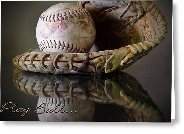 Baseball Glove Greeting Cards - Play Ball Greeting Card by Pam Walker
