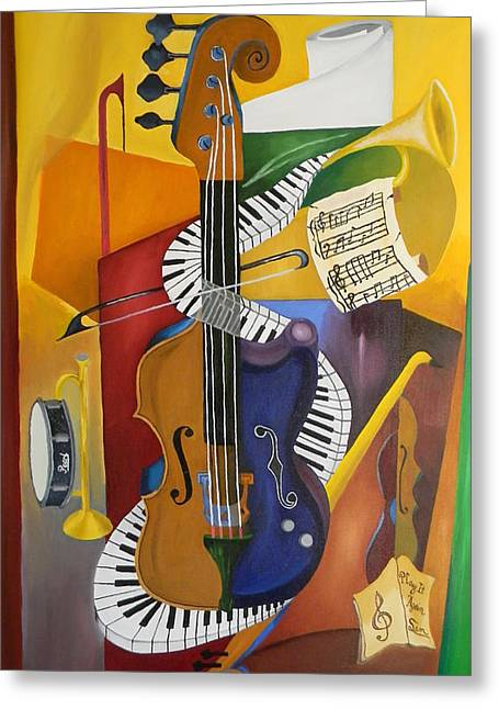 Cubism Art Greeting Cards - Play It Again Sam Greeting Card by Brien Cole