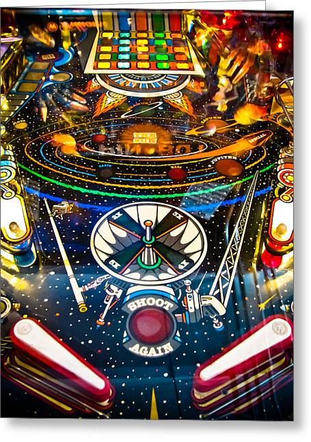 Amusements Greeting Cards - Play Pinball Greeting Card by Colleen Kammerer