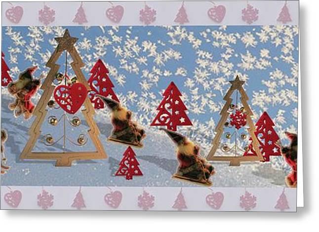 Christmas Greeting Greeting Cards - Play Santa Claus Greeting Card by Elena Simonenko