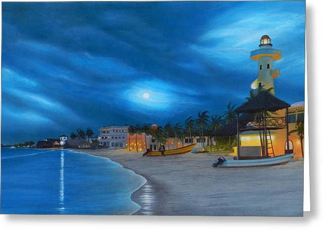 Recently Sold -  - Night Angel Greeting Cards - Playa de noche Greeting Card by Angel Ortiz