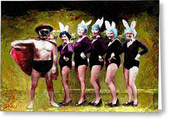 Playboy Bunny Greeting Cards - Playboy and Bunnies Greeting Card by Gerhardt Isringhaus