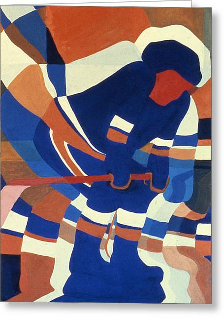 Hockey Paintings Greeting Cards - Player 2 Greeting Card by Ken  Yackel