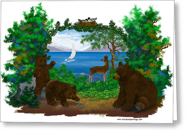 Bedroom Art Greeting Cards - Playful Bears Greeting Card by Ceci Bahr