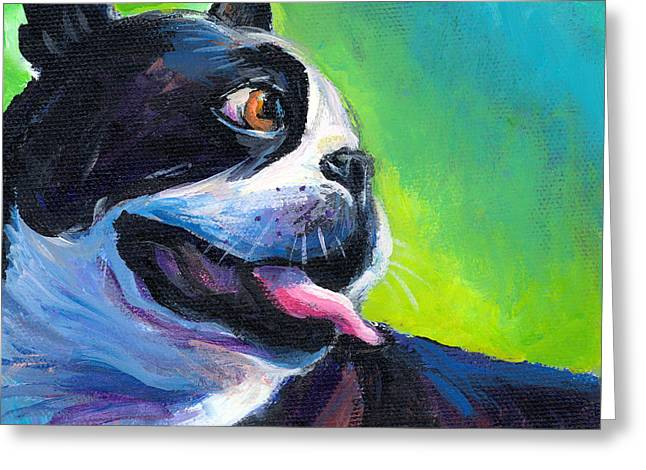 Dog Portraits Greeting Cards - Playful Boston Terrier Greeting Card by Svetlana Novikova