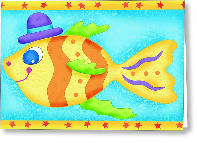 Decorative Fish Greeting Cards - Playful Boy Fish Greeting Card by Phyllis Dobbs