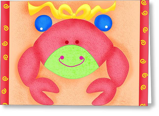 Sea Animals Greeting Cards - Playful Crab Greeting Card by Phyllis Dobbs