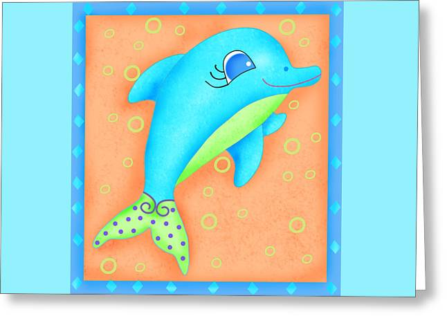 Decorative Fish Greeting Cards - Playful Dolphin Greeting Card by Phyllis Dobbs