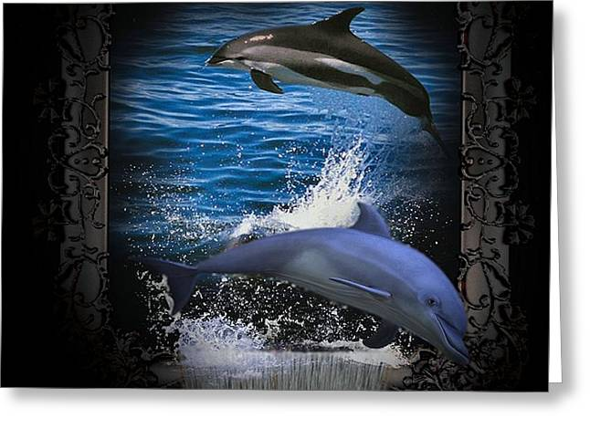 Ocean Mammals Greeting Cards - Playful Dolphins  Greeting Card by G Berry