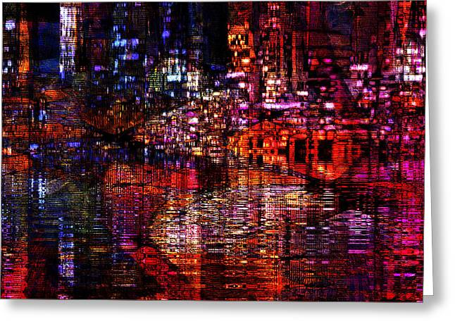 Urban Images Greeting Cards - Playful Evening Greeting Card by Kiki Art