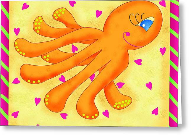 Sea Animals Greeting Cards - Playful Octopus Greeting Card by Phyllis Dobbs