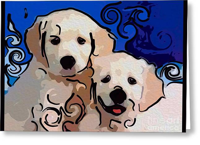Puppies Digital Art Greeting Cards - Playful Puppies Abstract Dog Art by Omaste Witkowski Greeting Card by Omaste Witkowski