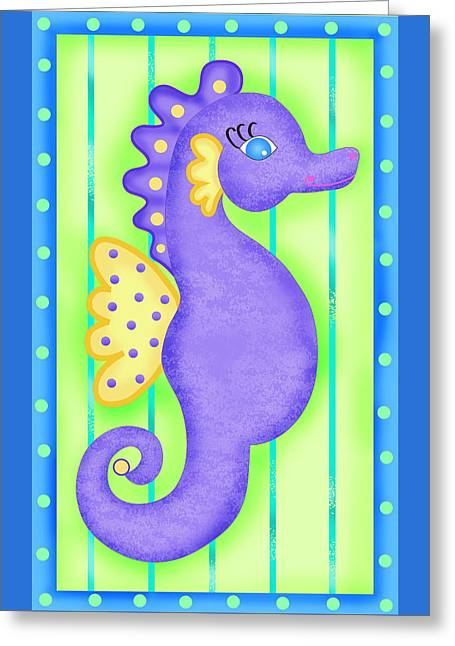 Sea Horse Greeting Cards - Playful Seahorse Greeting Card by Phyllis Dobbs