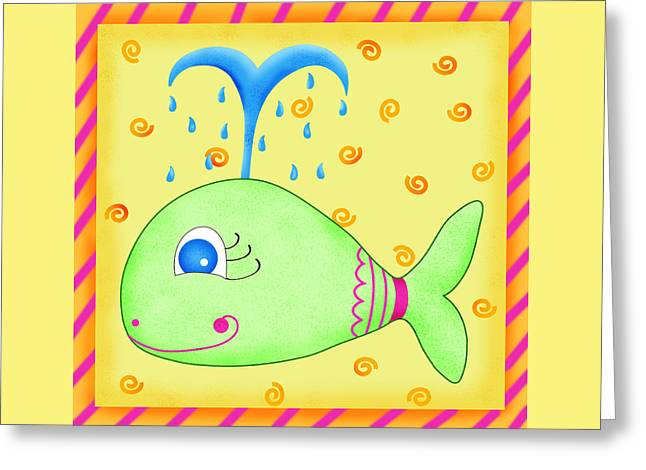 Sea Animals Greeting Cards - Playful Whale Greeting Card by Phyllis Dobbs