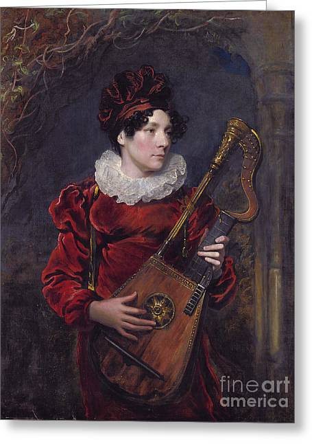 Lute Paintings Greeting Cards - Playing A Harp Lute Greeting Card by Celestial Images