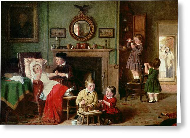 Little Boy Greeting Cards - Playing at Doctors Greeting Card by Frederick Daniel Hardy