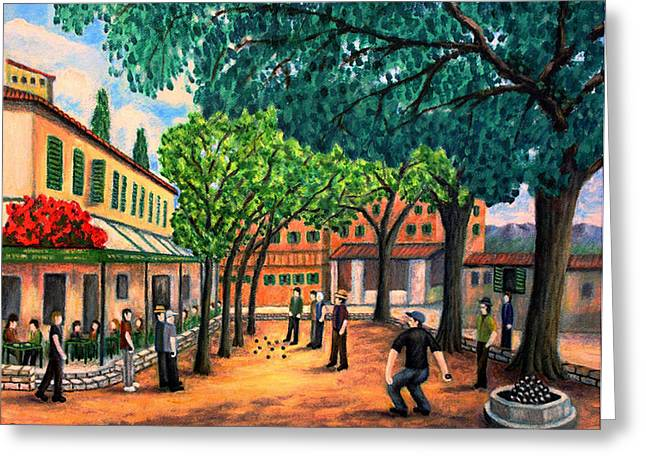 Playing Boules in St Paul De Vence Greeting Card by RONALD HABER