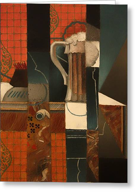 Pencil On Canvas Greeting Cards - Playing Cards And Glass Of Beer Greeting Card by Juan Gris