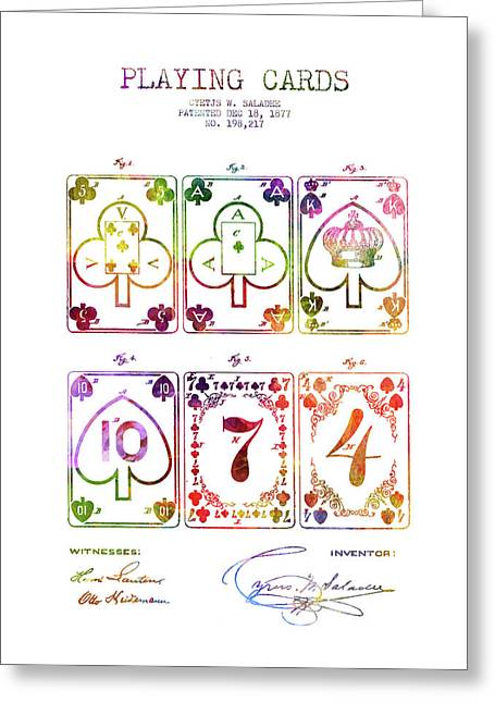 Playing Cards  Patent Drawing From 1877 - Rainbow Greeting Card by Aged Pixel