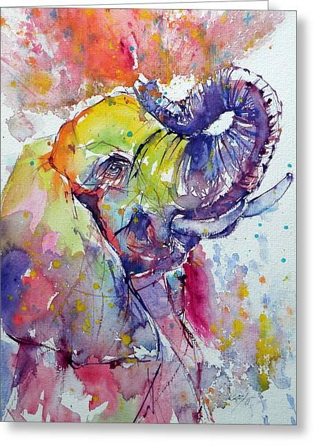 Playing Elephant Greeting Card by Kovacs Anna Brigitta