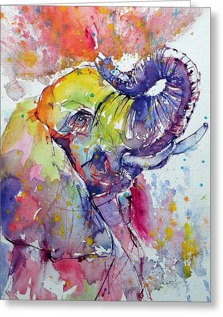 Fineartamerica Greeting Cards - Playing elephant Greeting Card by Kovacs Anna Brigitta