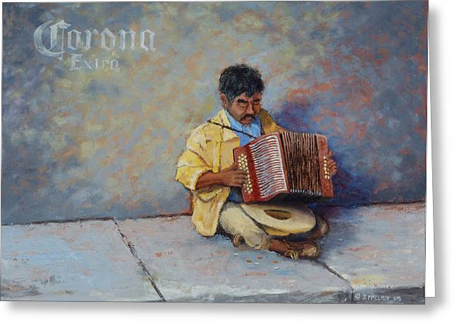 Jerry Mcelroy Greeting Cards - Playing for Pesos Greeting Card by Jerry McElroy