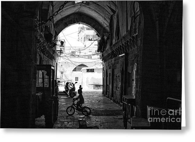 Children Playing Print Greeting Cards - Playing in Jerusalem Greeting Card by John Rizzuto
