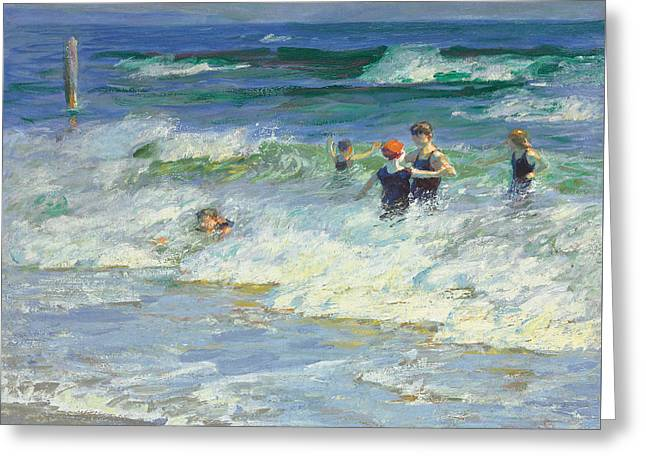 Swimmers Greeting Cards - Playing in the Surf Greeting Card by Edward Henry Potthast