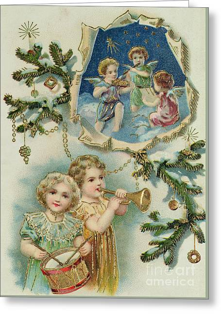 Playing Musical Instruments, Victorian Christmas Card Greeting Card by English School