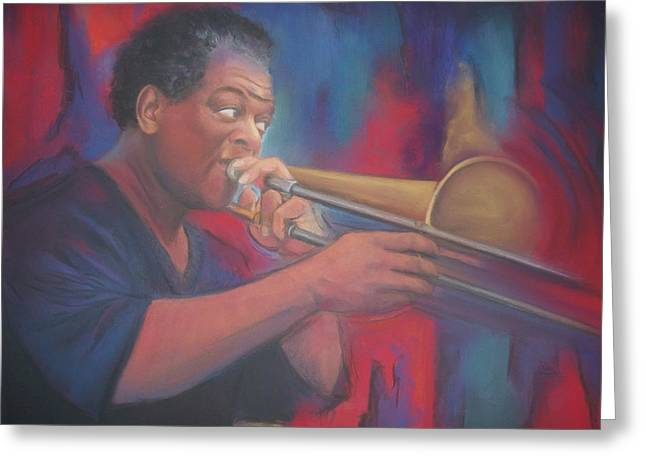 African-american Pastels Greeting Cards - Playing the Blues Greeting Card by Diane Caudle