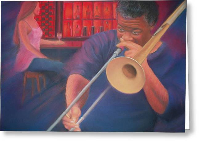 Nightclub Pastels Greeting Cards - Playing the Blues II Greeting Card by Diane Caudle