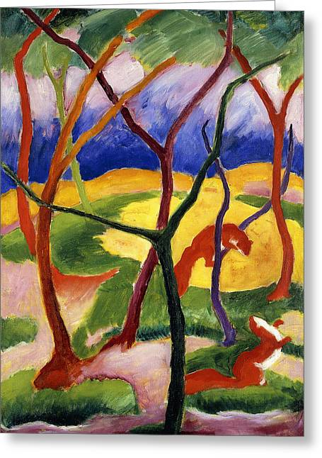 Abstract Shapes Greeting Cards - Playing Weasels Greeting Card by Franz Marc