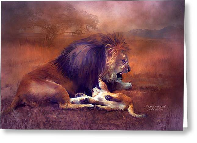 Playing With Dad Greeting Card by Carol Cavalaris