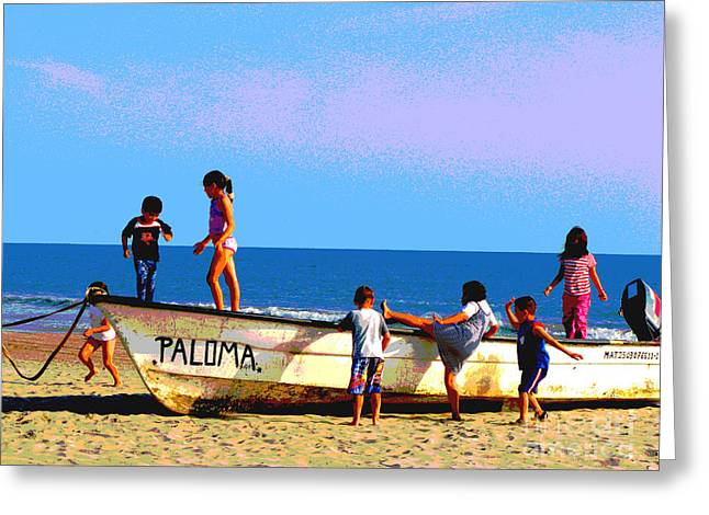 Playing with Palamo by Michael Fitzpatrick Greeting Card by Olden Mexico