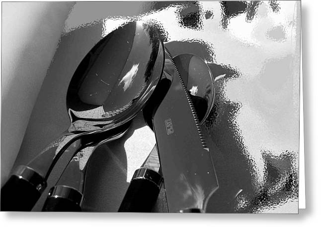 Dinner Digital Greeting Cards - Playing With Shadows Greeting Card by Evguenia Men