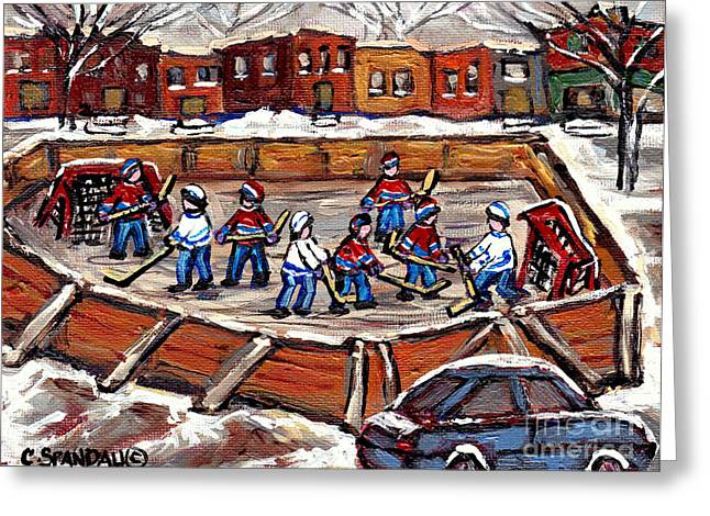 Outdoor Hockey Greeting Cards - Playoff Time At The Local Hockey Rink Montreal Winter Scenes Paintings Best Canadian Art C Spandau Greeting Card by Carole Spandau