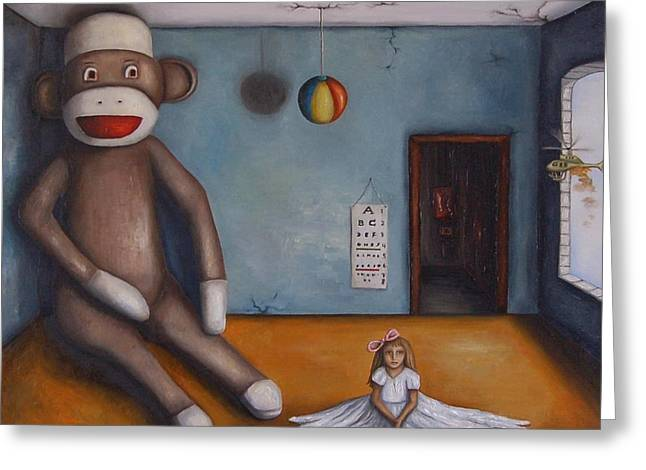 Surreal Humor Greeting Cards - Playroom Nightmare Greeting Card by Leah Saulnier The Painting Maniac