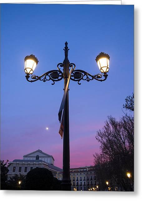 Streetlight Greeting Cards - One night at Plaza de Oriente Greeting Card by Eduardo Avanzini
