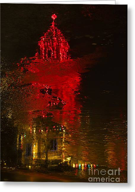 Plaza Reflections Greeting Card by Dennis Hedberg
